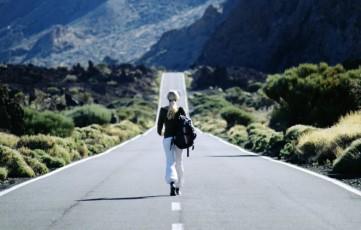 guy traveling alone